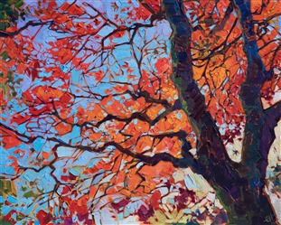 Vibrant oil painting of a Japanese maple tree by contemporary impressionist artist Erin Hanson