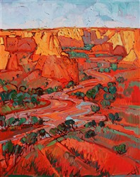 Canyon de Chelly desert landscape painting of Arizona red rock, by Open Impressionist Erin Hanson