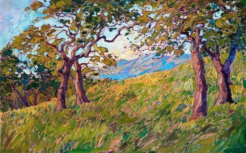 Mariposa wine country oak trees landscape painting for sale by Erin Hanson.
