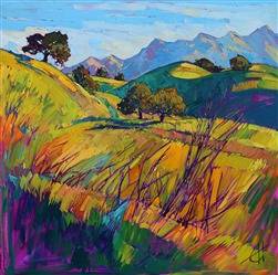 Bold expressionism landscape artwork by modern oil painter Erin Hanson