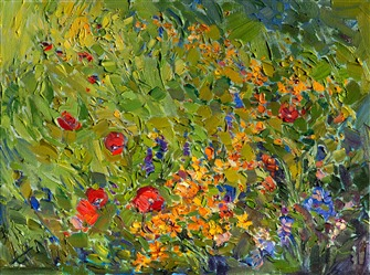 Wildflower modern impressionism oil painting by Los Angeles artist Erin Hanson
