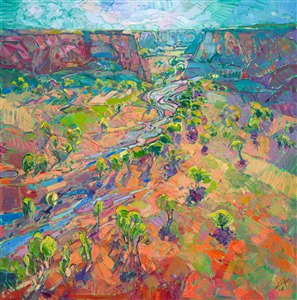 Dramatic Arizona landscape painting with lots of color, by American impressionist Erin Hanson