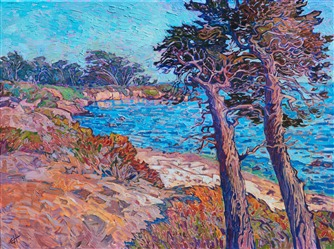 Pebble Beach Monterey cypress tree oil painting by California impressionist Erin Hanson