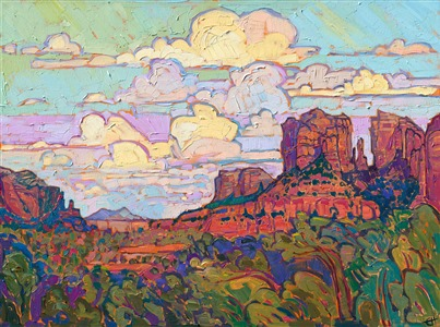 Sedona Arizona oil painting for sale by contemporary impressionist Erin Hanson