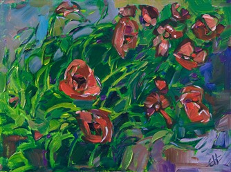 Small 9x12 impressionism oil painting of poppies, by Erin Hanson