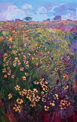 Texas hill country oil painting of black eyed Susans wildflowers, by Erin Hanson