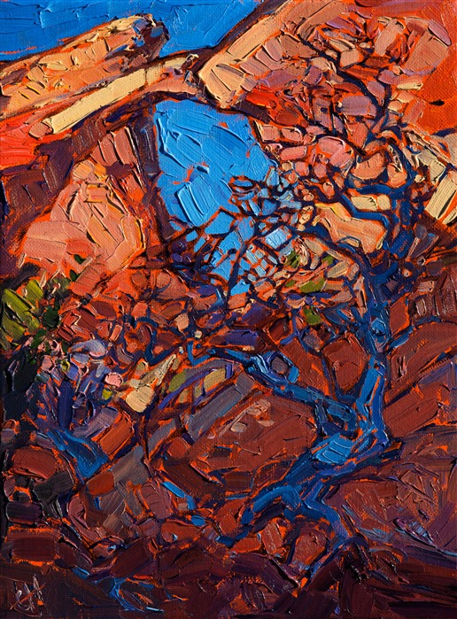Arches National Park oil painting landscape hanging in the St. George Art Museum