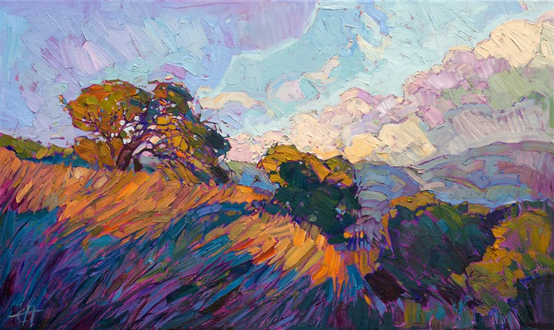 Abstract impressionism landscape painting of California wine country, by Erin Hanson