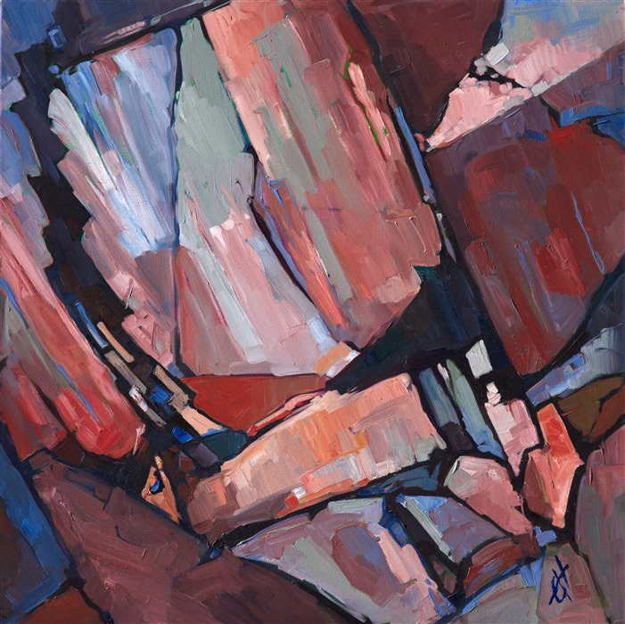Original oil painting of rock composition painted abstractly by contemporary artist Erin Hanson
