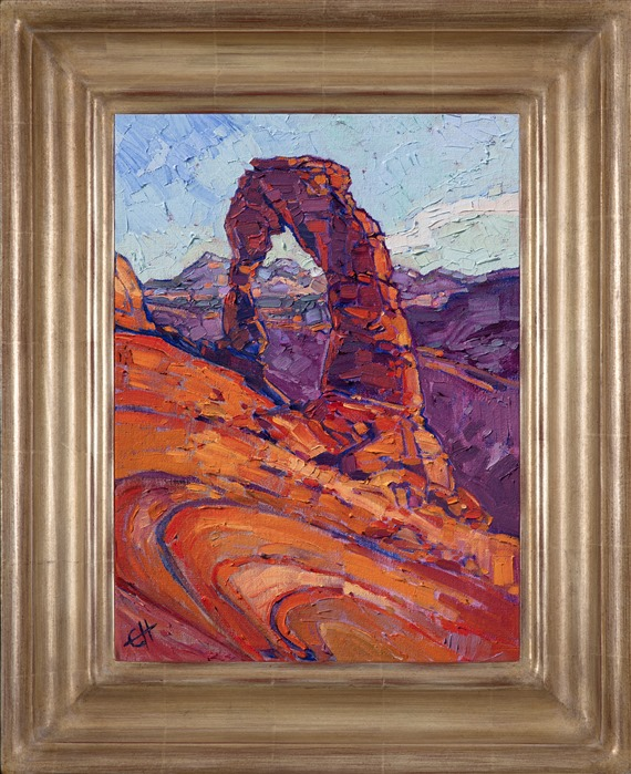 Impressionist landscape painting of Arches National Park framed in a hand carved champagne frame by California artist Erin Hanson
