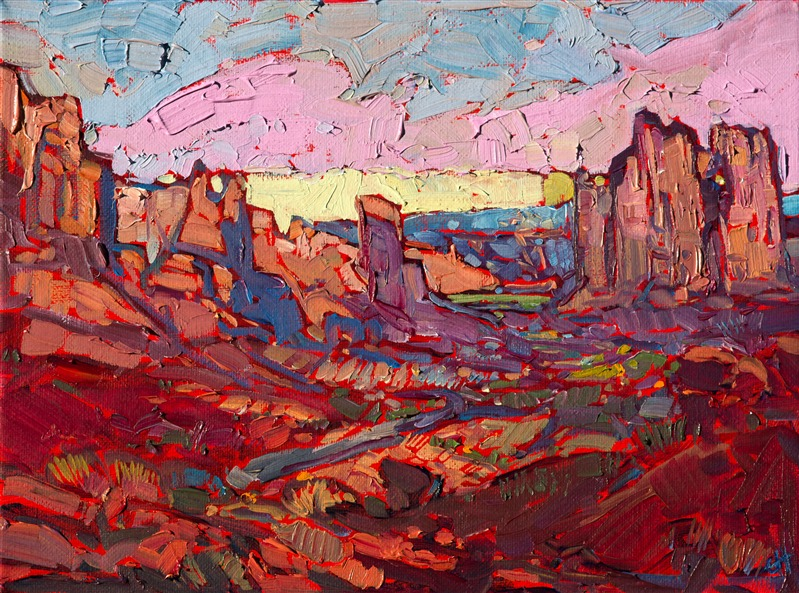 Arches National Park landscape oil painting in an impressionist style.