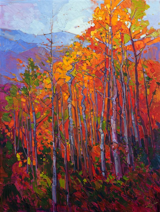 Utah Aspens in changing fall color, painting in brilliant oils by master colorist Erin Hanson.