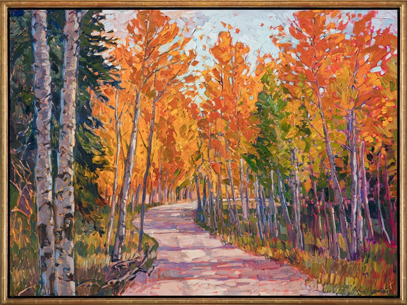 Oil painting of Aspens lining a shaded path by Erin Hanson framed in a gold floater frame