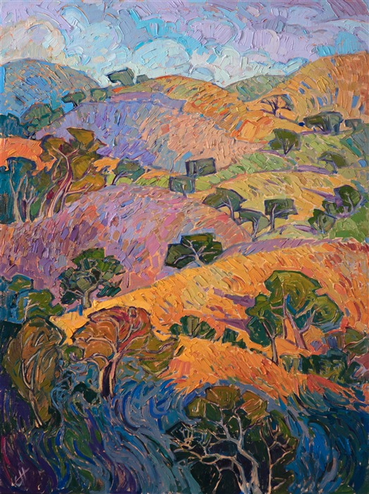 California wine country oil painting by modern impressionist Erin Hanson