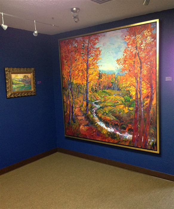 "Autumn in Gold"" hanging in The Erin Hanson Gallery, in Los Angeles"