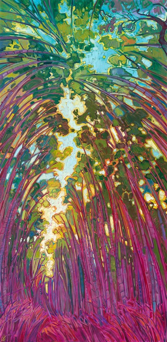 Arashiyama bamboo forest, painted in brilliant impressionistic color by artist Erin Hanson