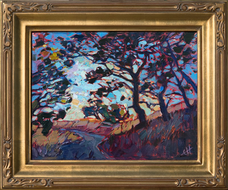 Impressionist painting of oak trees in Paso Robles by contemporary artist Erin Hanson in gold plein air frame