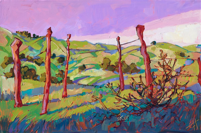 Artwork of Paso, California landscape by contemporary oil painter Erin Hanson