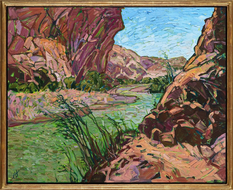 Gold framed oil painting of Big Bend by Erin Hanson