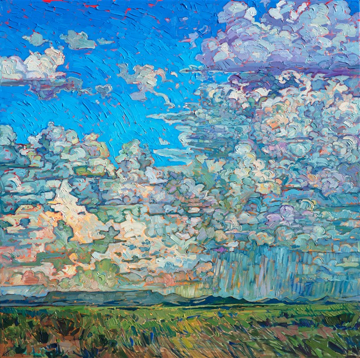 Big Texas sky painting with rain clouds, by modern impressionist painter Erin Hanson.