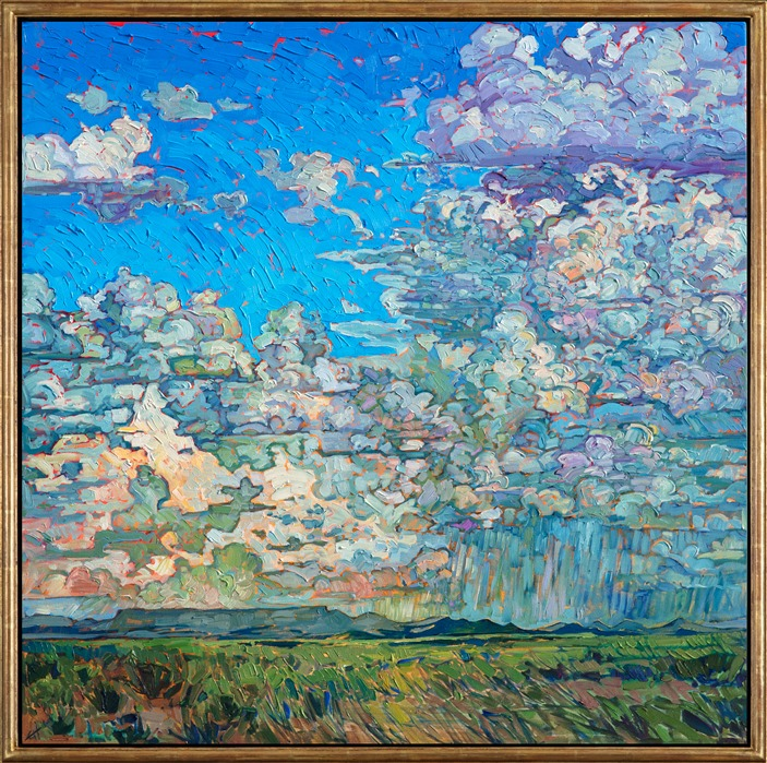 Oil painting of a Texan sky with dramatic clouds painted impressionistically by Erin Hanson, framed in a gold floater frame