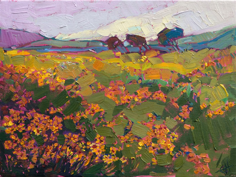 Texas wildflowers original oil painting landscape, by contemporary impressionist Erin Hanson