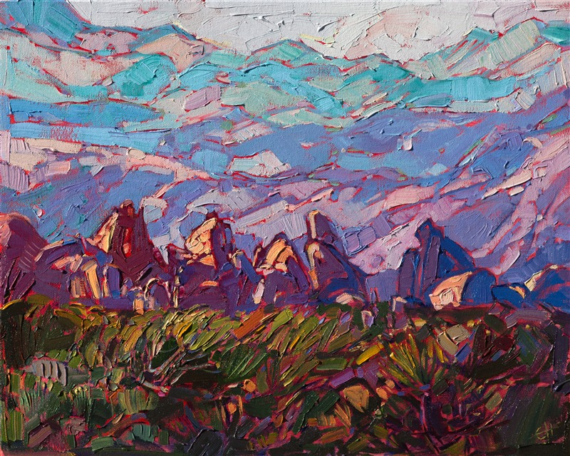 Small oil painting of Joshua Tree National Park, by Erin Hanson