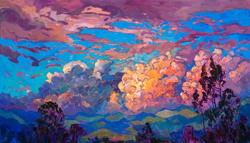Modern impressionism oil painting of San Diego Clouds, by American Impressionist Erin Hanson.