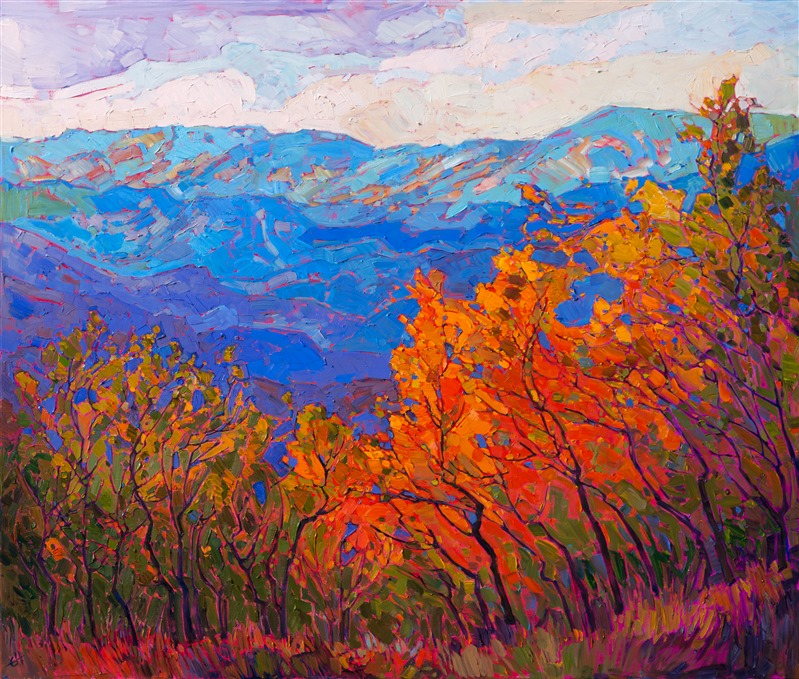 Dramatic aspen painting from Utah National Park, Cedar Breaks, by contemporary artist Erin Hanson.