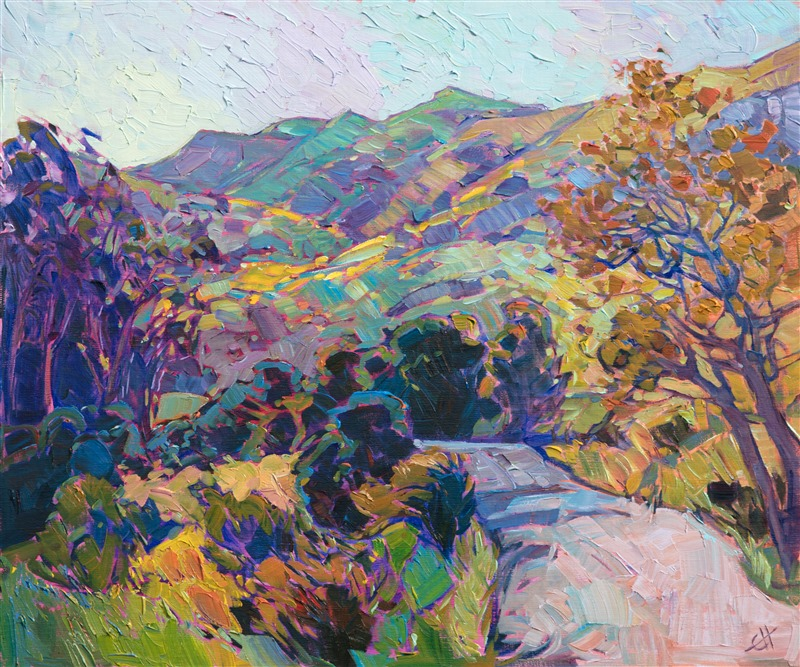 Oil painting of Carmel California scenery with colorful hills and trees by contemporary artist Erin Hanson