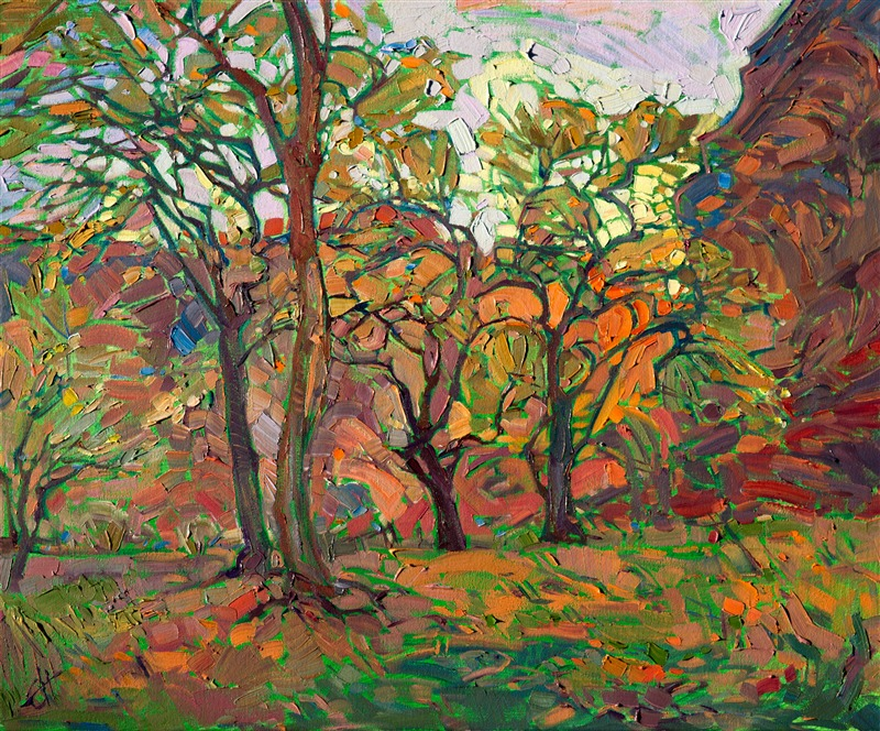 Canyon de Chelly Arizona cottonwoods landscape painting by modern impressionist Erin Hanson