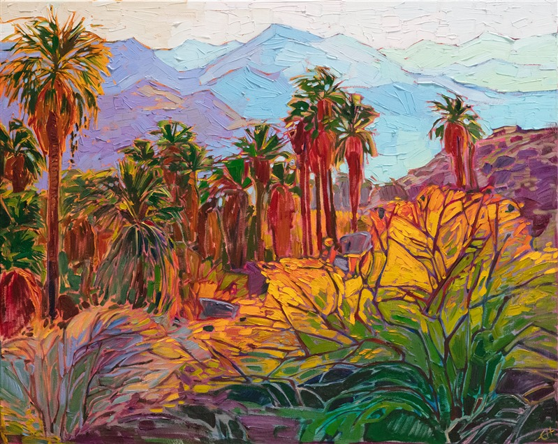 Indian Canyons palm oasis landscape oil painting by modern impressionism painter Erin Hanson