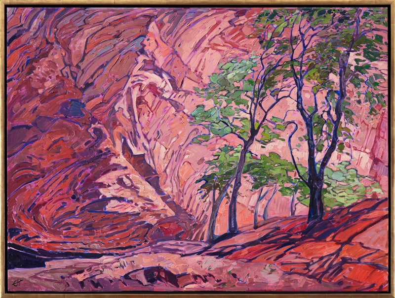 Oil painting of a landscape in Chelly Canyon in gold floater frame painted by Impressionist artist Erin Hanson.