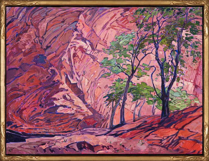 Oil painting of a landscape in Chelly Canyon by Impressionist artist Erin Hanson framed in a hand carved gold floater frame