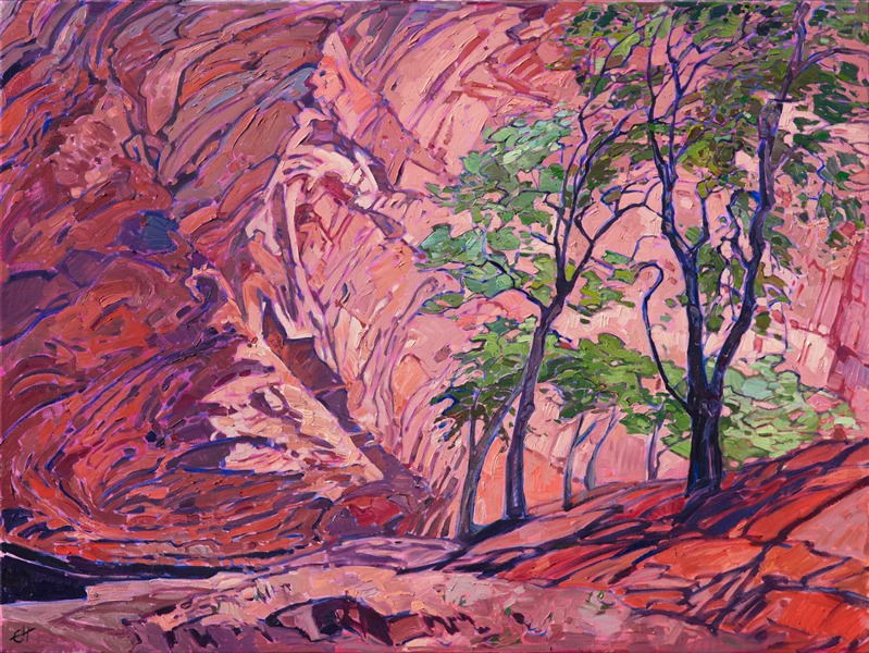 Impressionist oil painting of Canyon de Chelly by Erin Hanson