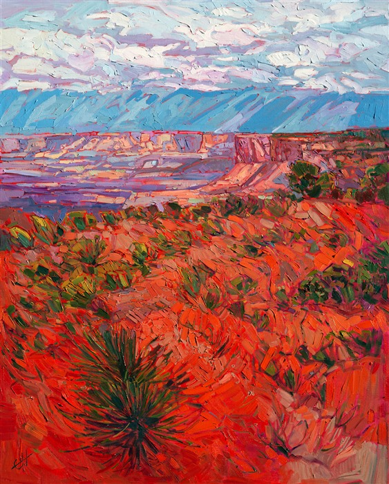 Canyonlands landscape painting in oil, with a loose expressionist brush stroke and vivid color.