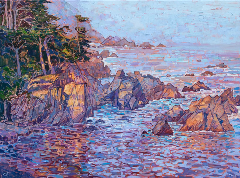 Carmel coastline early dawn oil painting by modern impressionist artist Erin Hanson.