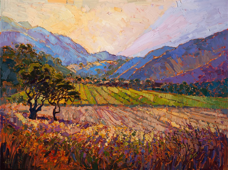 Carmel Valley beautiful California landscape painting in a contemporary impressionist style.