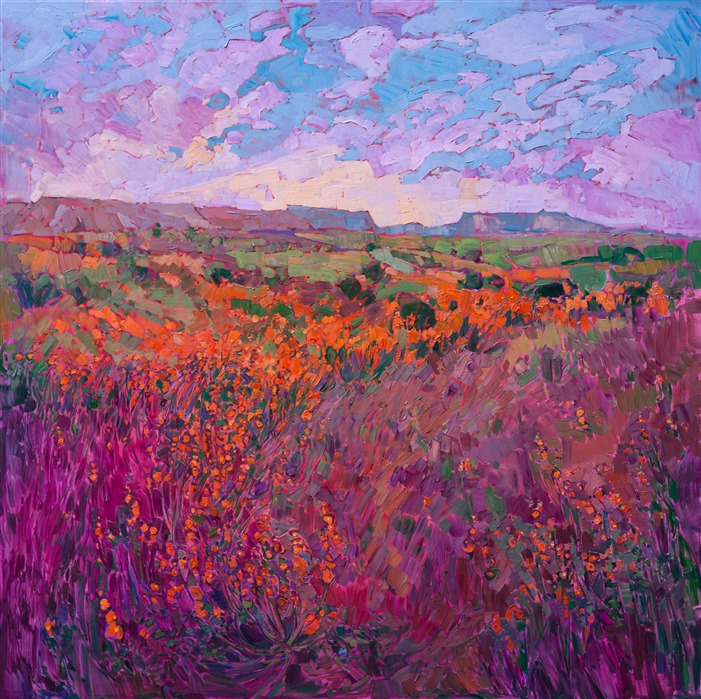 Utah wildflowers oil painting in a contemporary painterly style, by Erin Hanson.
