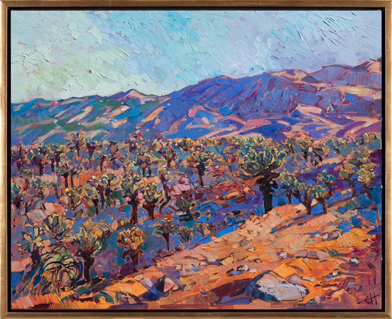 Jumping Cholla field in Joshua Tree National Park oil painting framed in gold floater frame