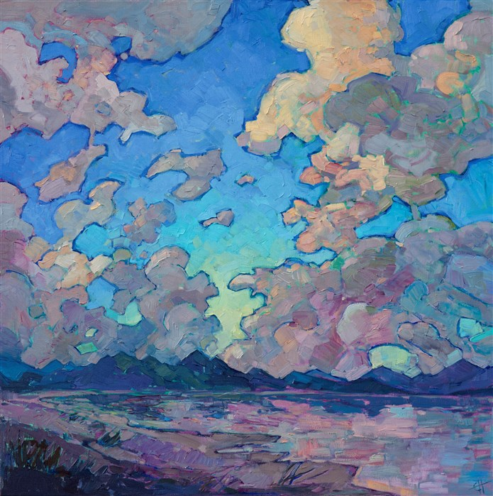 Contemporary expressionist landscape clouds painting by Erin Hanson