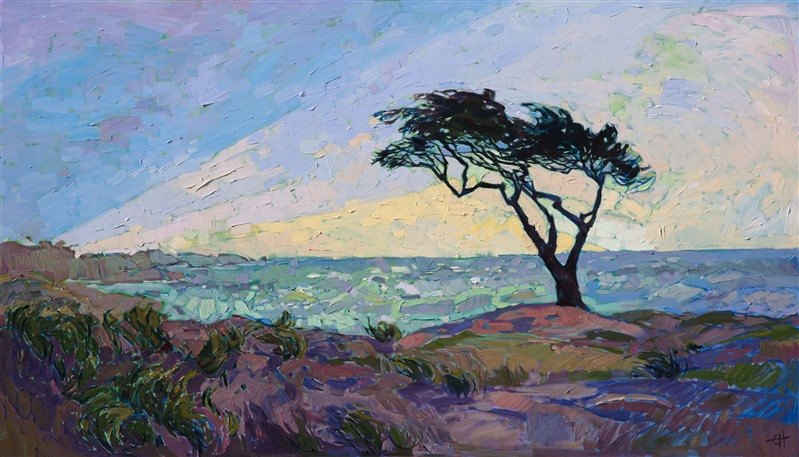 Coastal cypress trees of California captured on cavans in oils by contemporary impressionist Erin Hanson