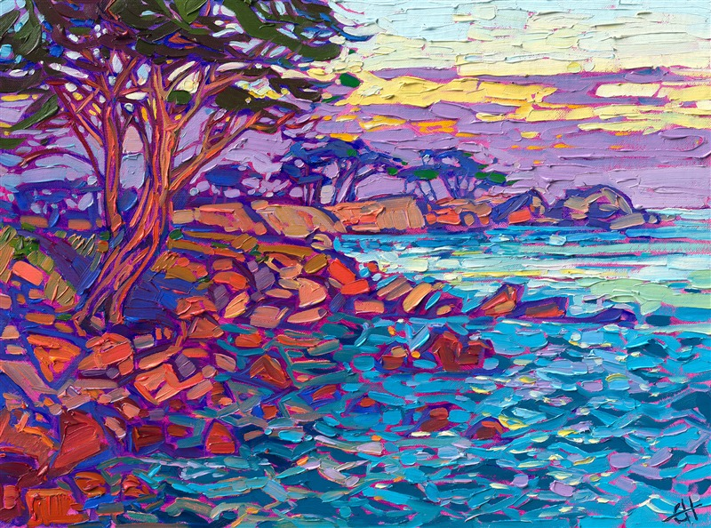 Erin Hanson petite oil painting of Carmel by the Sea, California, Monterey
