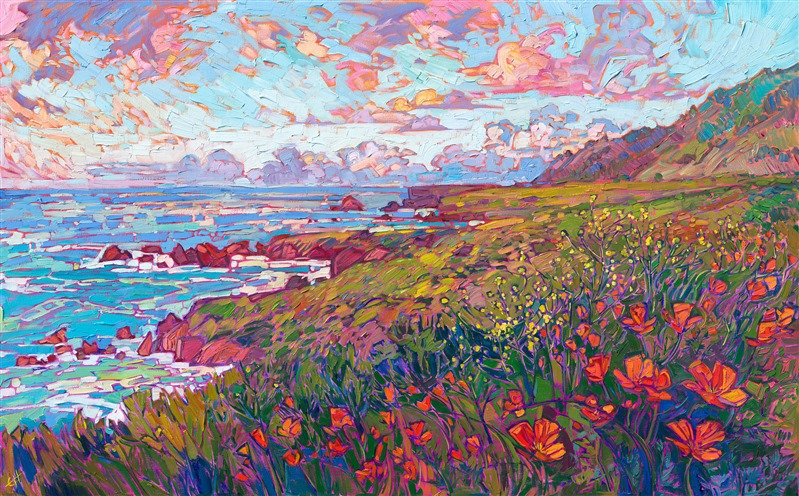 Coastal poppies original oil painting of California coastline, by modern impressionist Erin Hanson