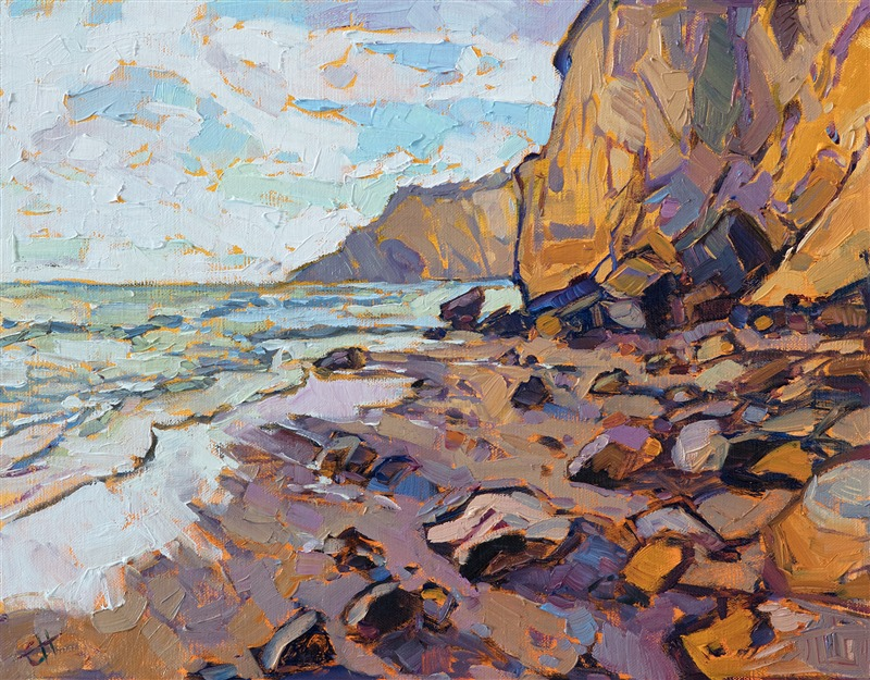 Small oil painting for impressionist art collectors, San Diego landscape by Erin Hanson
