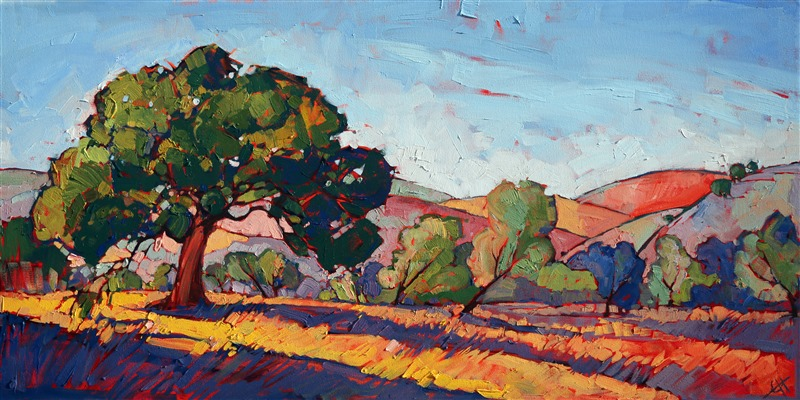 Abstract shapes and emotional color choices are the landmarks of Erin Hanson's oil paintings.