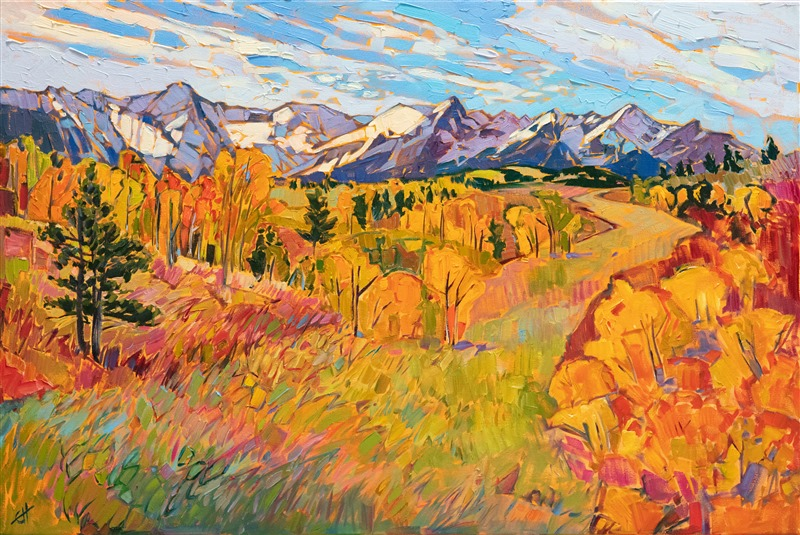 Colorado autumm colors original oil painting in expressionist color, by Erin Hanson