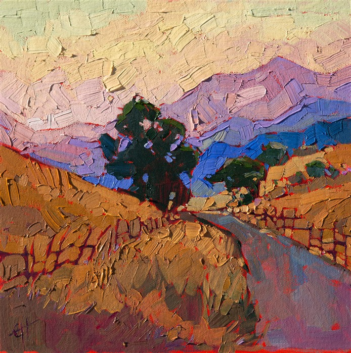 Modern colorful oil painting by landscape artist Erin Hanson