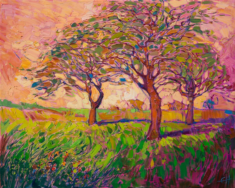 Coral Dawn, original oil painting in a contemporary impressionist style, by Erin Hanson.