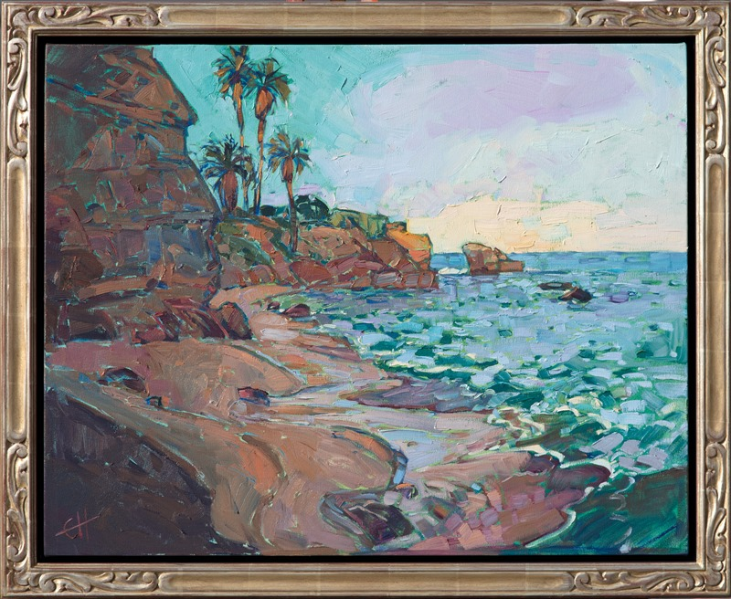 Cove at Dawn, framed oil painting of La Jolla Cove, by Erin Hanson